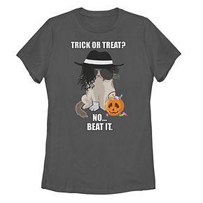 Juniors' Grumpy Cat Trick or Treat No Just Beat It Tee