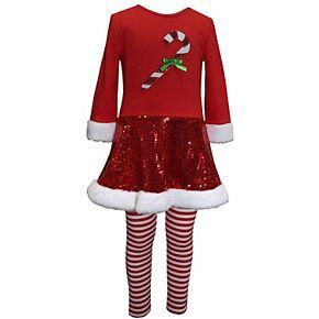 Baby Girl Blueberi Boulevard 2 Piece Candy Cane Sequined Dress & Striped Leggings Set