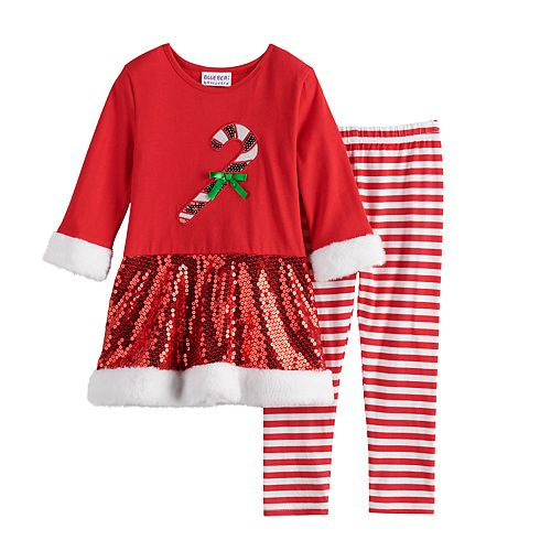Toddler Girl Blueberi Boulevard Candy Cane Dress & Striped Leggings Set