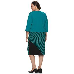 Plus Size Maya Brooke Jacket & Asymmetrical Stripe Dress Set