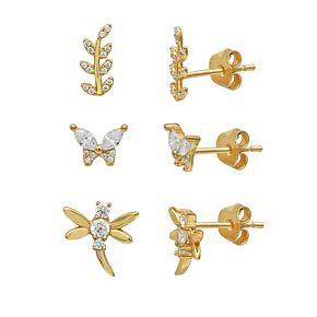 PRIMROSE 18K Gold Plated Cubic Zirconia Pave Leaf, Butterfly & Dragonfly Stud Earrings Set