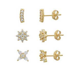 PRIMROSE 18K Gold Plated Cubic Zirconia Pave Flowers Stud Earring Set