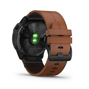 Garmin fenix 6X Sapphire Black DLC Smartwatch with Chestnut Leather Band