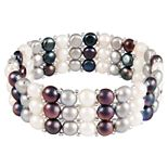 Sterling Silver Triple Row Dyed Freshwater Cultured Pearl Bracelet