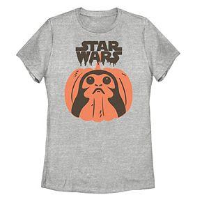 Juniors' Disney Star Wars Porg Pumpkin Graphic Tee