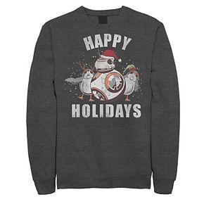 "Juniors' Star Wars BB-8 and Porg ""Happy Holidays"" Fleece"