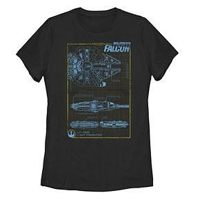 Juniors' Star Wars Millennium Falcon Schematics Tee