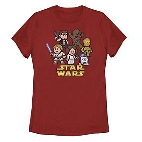 Juniors' Star Wars Group Shot & Logo Pixel Art Tee