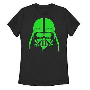 Juniors' Star Wars Green Drip Darth Vader Helmet Tee