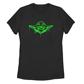 Juniors' Star Wars Green Drip Yoda Tee