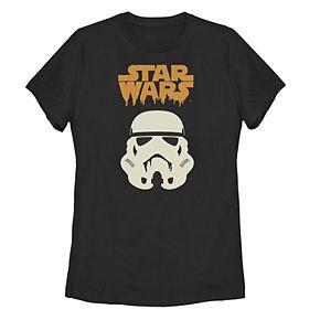 Juniors' Star Wars Stormtrooper Helmet Logo Paint Drip Tee