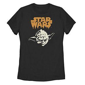 Juniors' Star Wars Yoda Paint Drip Tee