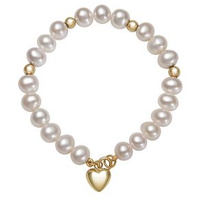 Kids' 14k Gold Heart Charm & Freshwater Cultured Pearl Bracelet - 6 in.