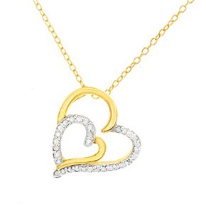 Two Tone Sterling Silver 1/4 Carat T.W. Diamond Double Heart Necklace