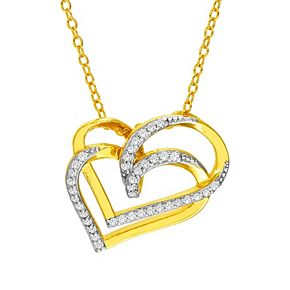 18k Gold Over Silver 1/4 Carat T.W. Diamond Double Heart Necklace