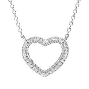 Sterling Silver 1/4ct. T.W. Diamond Open Heart Necklace