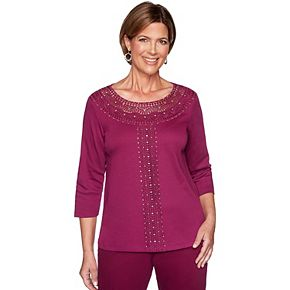 Petite Alfred Dunner Beaded & Lace Yoke Knit Top