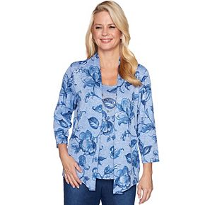 Petite Alfred Dunner Floral Mixed-Media Top