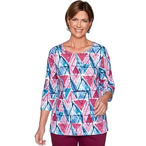 Petite Alfred Dunner Embellished Geometric Print Top