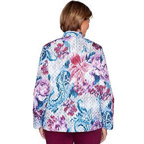 Petite Alfred Dunner Floral Print Quilt Jacket