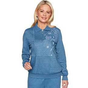Women's Alfred Dunner Floral Embroidery 1/4-Zip Knit Top