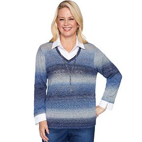Women's Alfred Dunner Ombre Mock-Layer Sweater