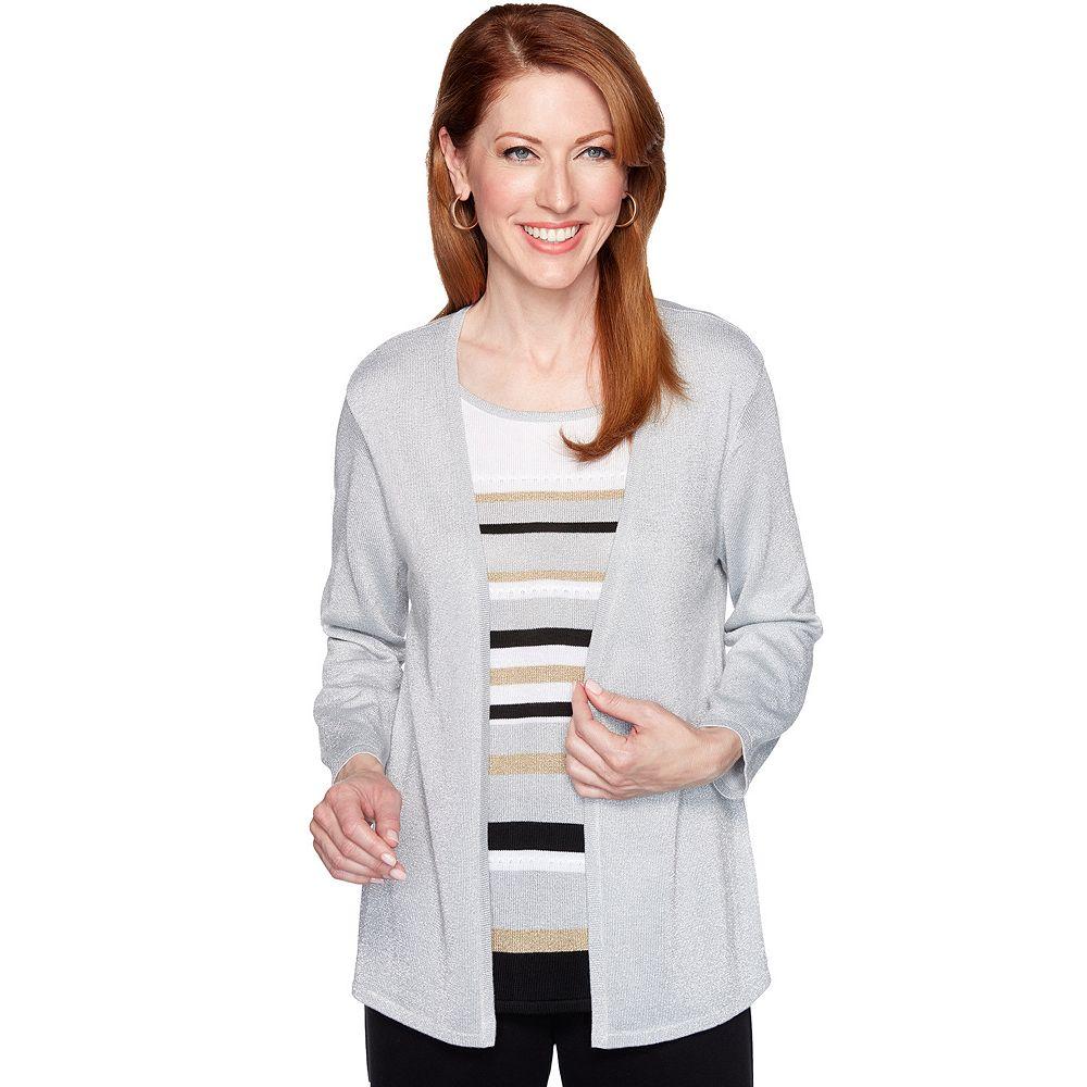 Women's Alfred Dunner Striped Lurex Mock-Layer Sweater