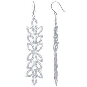 Sterling Silver Beaded Petal Linear Drop Earrings