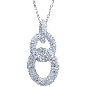 Sterling Silver Crystal Interlocking Links Pendant Necklace