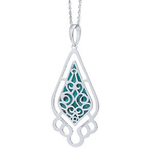 Sterling Silver Turquoise Teardrop & Filigree Pendant Necklace