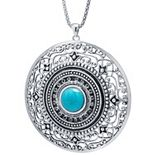 Sterling Silver Turquoise Cabochon & Filigree Medallion Pendant Necklace