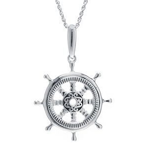 Sterling Silver Ship's Helm Pendant Necklace