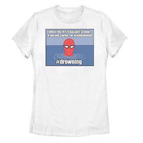 Juniors' Marvel Spider-Man #drowning Vintage Portrait Panel Tee
