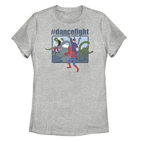 Juniors' Marvel Spider-Man & Villains #dancefight Tee