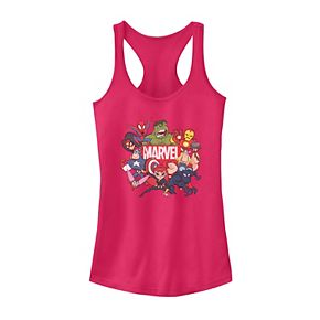 Juniors' Marvel Avengers Cartoon Action Collage Group Tank