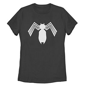 Juniors' Marvel Venom Symbiote All White Logo Tee