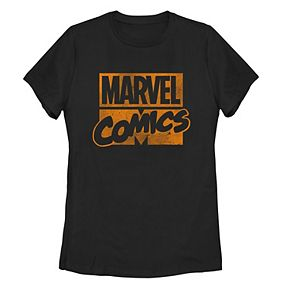 Juniors' Marvel Classic Comics Stack Logo Tonal Orange Tee