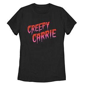 Juniors' Creepy Carrie Classic Drip Logo Tee