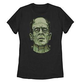 Juniors' Universal Monsters Frankenstein Head Shot Portrait Tee