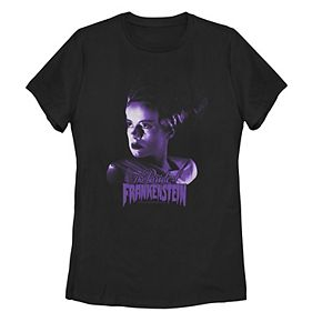 "Juniors' Universal Monsters ""The Bride Of Frankenstein"" Purple Hue Portrait Tee"