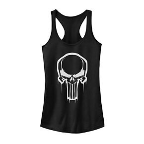 Juniors' Marvel Punisher Skull Paint Drip Tank Top
