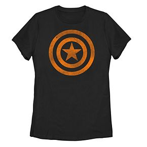 Juniors' Marvel Captain America Shield Logo Orange Halloween Tee