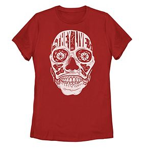 """Juniors' """"They Live"""" Head Shot Text Fill Tee"""