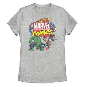 Juniors' Marvel Comics Avengers Collage Tee