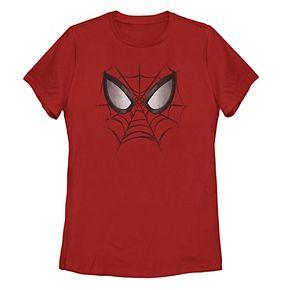 Juniors' Marvel Spider-Man Webbed Face Portrait Tee