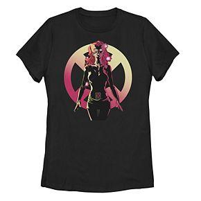 Juniors' Marvel X-Men Jean Grey X Logo Portrait Overlay Tee