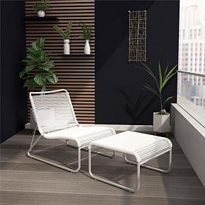 CosmoLiving Lita Patio Lounge Chair & Ottoman 2-piece Set