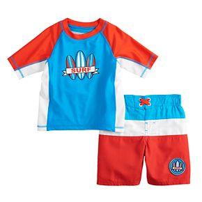 "Toddler Boy ZeroXposur ""Surf"" Colorblocked Rash Guard Top & Swim Trunks Set"