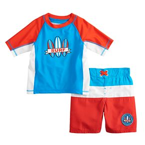 "Toddler Boy ZeroXposur ""Surf"" Colorblocked Rash Guard Top & Swim Trunks Set"