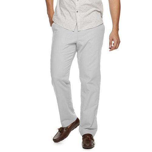 Men/'s Marc Anthony Gray Slim-Fit Linen-Blend Pants Size 32 X 33